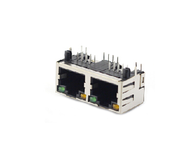 8P8C pcb mounting 90 degree dual rj45 female connector with shield
