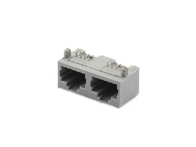 Pcb mounting double plastic 90 degree 8p8c RJ45 modular jack connector
