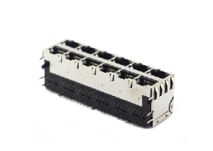 Horizontal 2x6 shielded 8 Pin rj45 ethernet connector with EMI