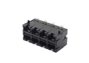 90 degree 2x4 8P rj45 modular jack pcb mounting