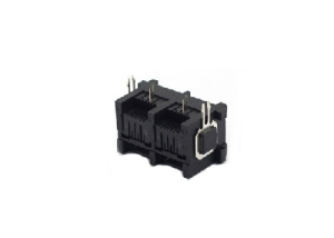 90 degree 8P8C RJ45 modular jack with mental peg dual ports