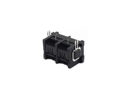 90 degree 8P8C RJ45 modular jack with mental peg dual ports