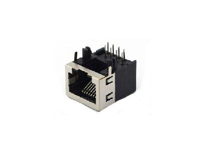 90 degree single 8P RJ45 modular jack connector with side EMI