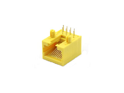 90 degree single port 10P RJ45 connector yellow color