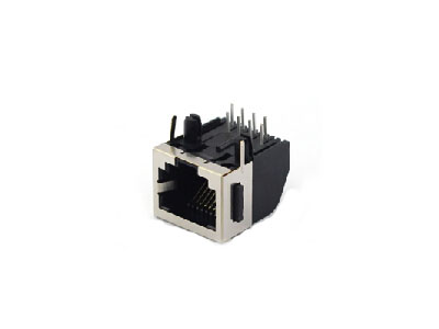 Half-shield RJ45 female connector with ear split peg