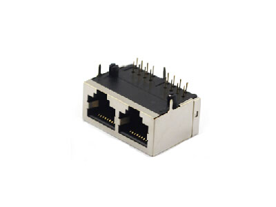 Horizontal 8p8c 2ports shielded rj-45 ethernet port