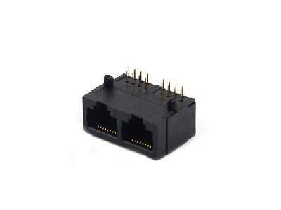 Horizontal unshielded 2 ports female rj45 connector 8p8c