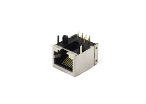 Right angle 10P shielded 1x1 rj45 female jack without emi