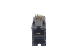Right angle 8 pin 2x1 rj45 female connector PCB jack