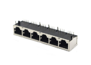 Right angle shielded 10P8C RJ45 ethernet port 1x6