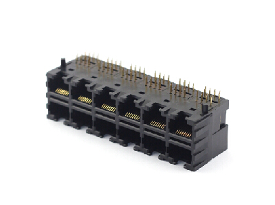Right angle unshielded 2x6 8P8C rj45 modular jack