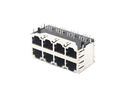 Horizontal stacked shielded rj45 female connector with EMI 2x4