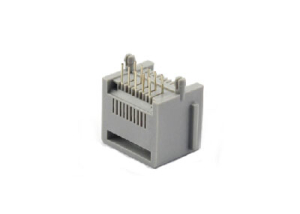 Unshielded 1x1 right angle rj45 10 pin connector with ear