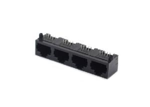 Unshielded 4 ports right angle pcb mount 8p8c RJ45 female socket
