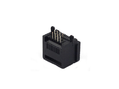 Unshielded single 90 degree 10P rj45 modular jack with step