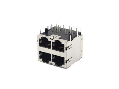 horizontal 2x2 shielded rj45 modular jack 8P8C