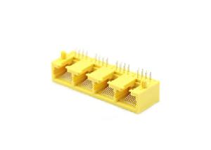 Horizontal plastic 10p 4 ports rj45 pcb mount jack socket