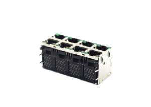 right angle 2x4 8P8C stacked shielded rj45 modular jack with LED
