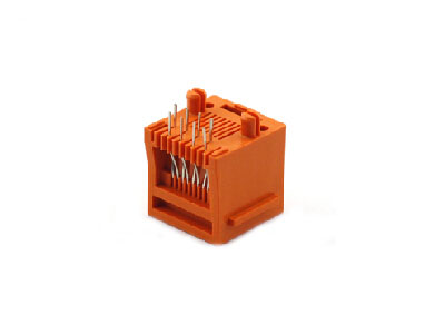Vertical 1x1 8P rj45 modular jack with split peg