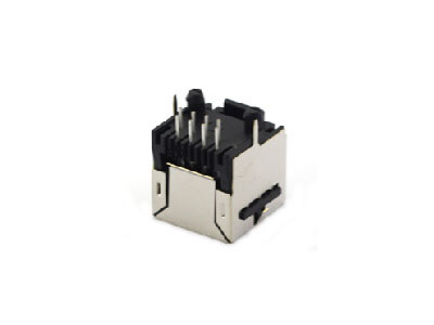 Vertical 1x1 shielded rj45 network jack with ear