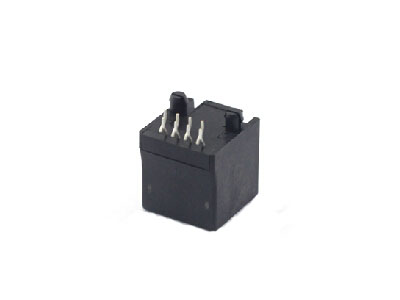 Vertical pcb mount plastic 1x1 RJ45 thru hole modular jack 8p8c