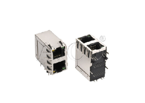 100BASE-T 2x1 RJ45 connector with transformer