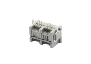 1x2 90 degree 6P rj11 modular jack connector with mental peg