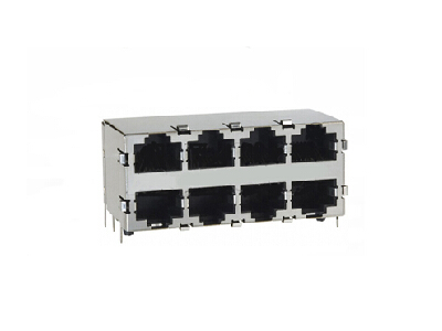 2x4 1000BASE-TX rj45 connector with integrated magnetics