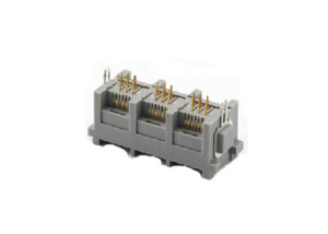 3 ports 6P vertical RJ11 female connector with metal