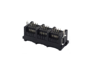 AICO 3 ports 8P 180 degree rj45 modular jack connector with metal peg image