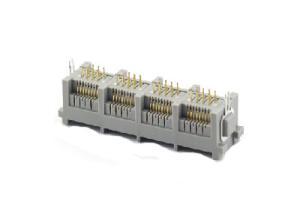 Multi-port vertical rj45 modular jack female connector