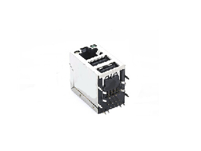RJ45 dual USB magnetic modular jack with LED