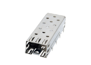 SFP cage 1x1 press fit tails equivalent to MOLEX 74737-0004
