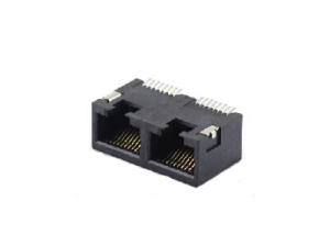 Unshielded 8P8C RJ45 1x2 SMT pcb jack connector