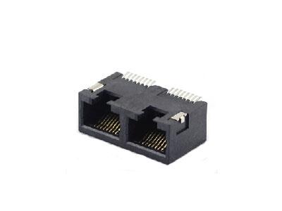 Unshielded 8P8C RJ45 1x2 SMT pcb jack connector
