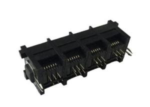 1xN unshielded 6P multi-port 180 degree RJ11 modular jack connector