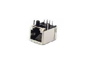 single port 6P rj11 modular jack connector with shield