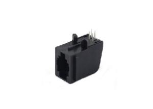 90 degree unshielded single port RJ22 4P4C female connector