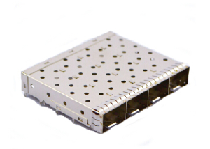 1x4 Small Form-Factor Pluggable Plus connector and cage