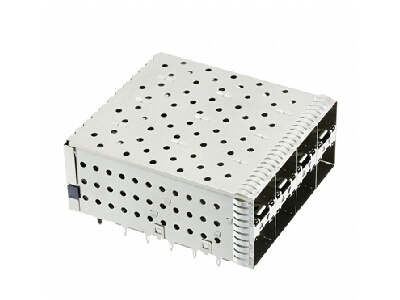 Stacked SFP+ 2x4 Receptacle with cage